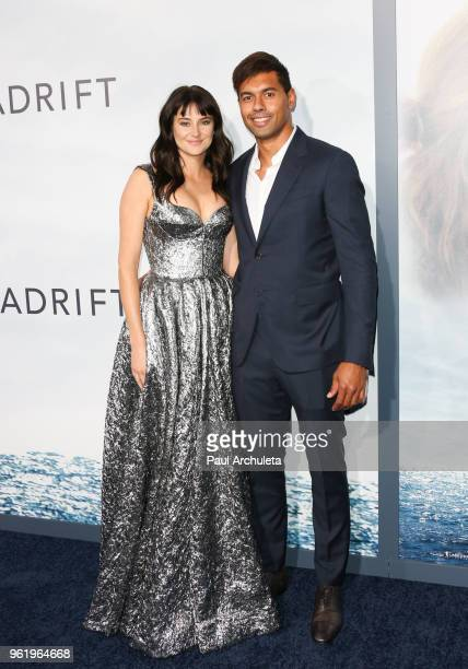 Actress Shailene Woodley and Rugby Football Player Ben Volavola attend the premiere of STX Films' Adrift at Regal LA Live Stadium 14 on May 23 2018...