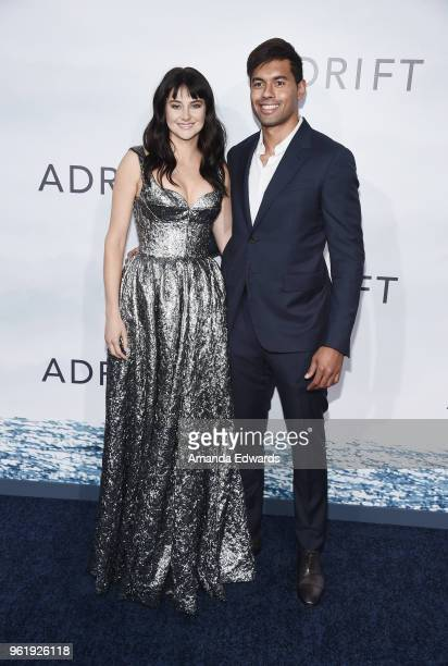 """Actress Shailene Woodley and rugby player Ben Volavola arrive at the premiere of STX Films' """"Adrift"""" at the Regal LA Live Stadium 14 on May 23, 2018..."""