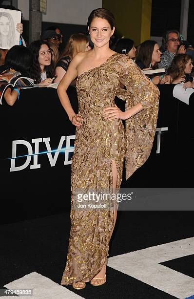 Actress Shailene Woodley arrives at the Los Angeles Premiere 'Divergent' at Regency Bruin Theatre on March 18 2014 in Los Angeles California