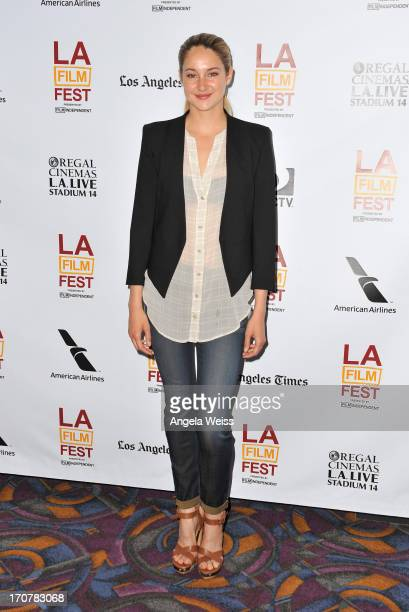 """Actress Shailene Woodley arrives at the premiere of A24's """"The Spectacular Now"""" during the 2013 Los Angeles Film Festival at Regal Cinemas L.A. Live..."""