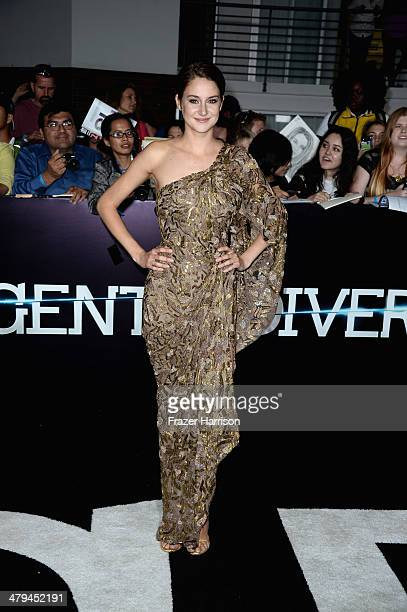 Actress Shailene Woodley arrives at the premiere of Summit Entertainment's Divergent at the Regency Bruin Theatre on March 18 2014 in Los Angeles...