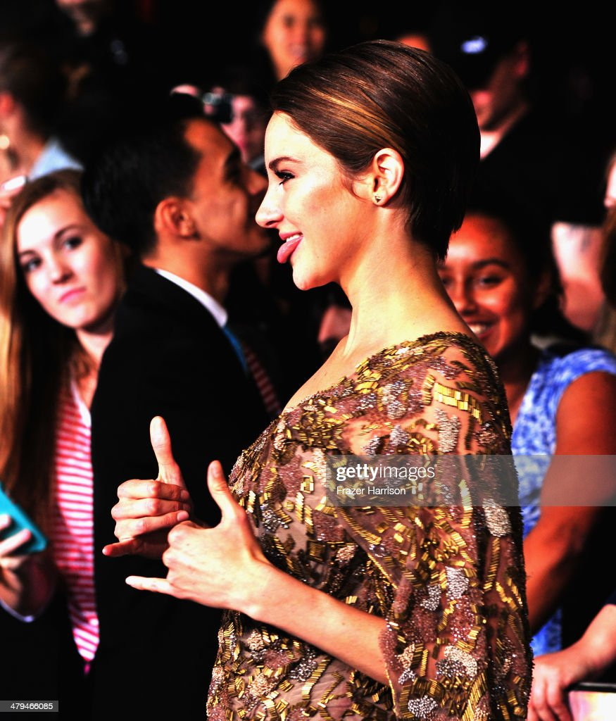 Actress Shailene Woodley arrives at the premiere Of Summit Entertainment's 'Divergent' at Regency Bruin Theatre on March 18, 2014 in Los Angeles, California.