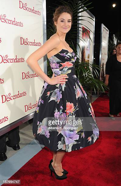 Actress Shailene Woodley arrives to the premiere of Fox Searchlight's The Descendants at AMPAS Samuel Goldwyn Theater on November 15 2011 in Beverly...