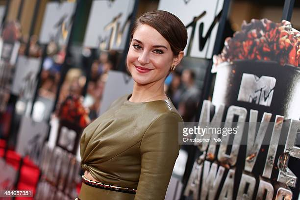 Actress Shailene Woodley attends the 2014 MTV Movie Awards at Nokia Theatre LA Live on April 13 2014 in Los Angeles California