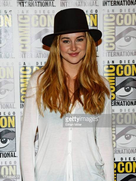 Actress Shailene Woodley attends the 'Ender's Game' and 'Divergent' press line during ComicCon International 2013 at the Hilton San Diego Bayfront...