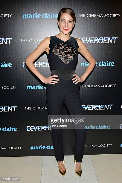 "Actress Shailene Woodley attends the Marie Claire & The Cinema Society screening of Summit Entertainment's ""Divergent"" at Hearst Tower on March 20,..."