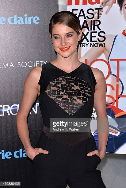 Actress Shailene Woodley attends the Marie Claire The Cinema Society screening of Summit Entertainment's 'Divergent' at Hearst Tower on March 20 2014...