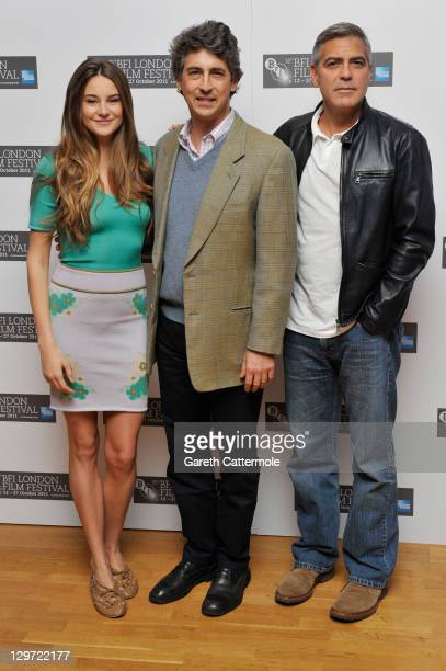 Actress Shailene Woodley director/writer Alexander Payne and actor George Clooney attend The Descendants photocall during the 55th BFI London Film...