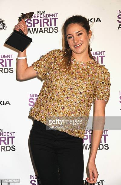 Actress Shailene Woodley poses in the press room at the 2012 Film Independent Spirit Awards at Santa Monica Pier on February 25, 2012 in Santa...
