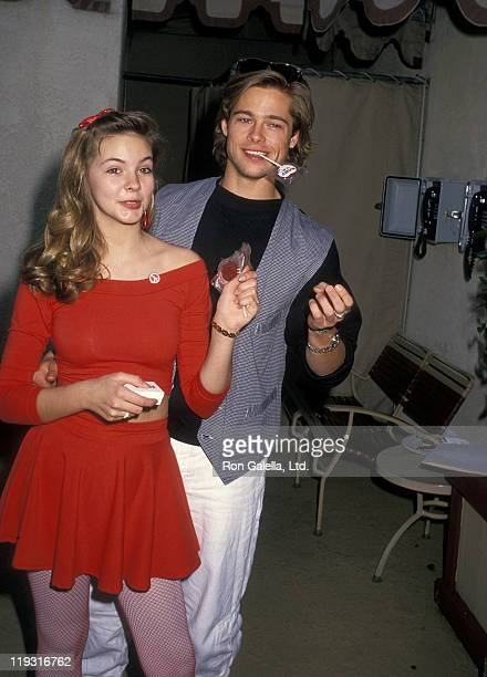 Actress Shalane McCall and actor Brad Pitt attend the Athletes and Entertainers for Kids Hosts 'Bringing Hope to Kids with Serious Illnesses'...