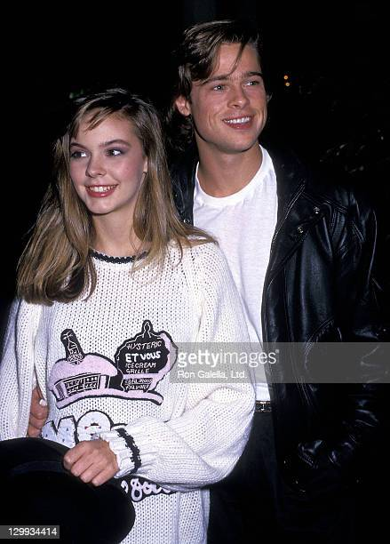 Actress Shalane McCall and actor Brad Pitt attend the Seventh Annual Jimmy Stewart Relay Marathon KickOff Cocktail Reception on January 14 1988 at...