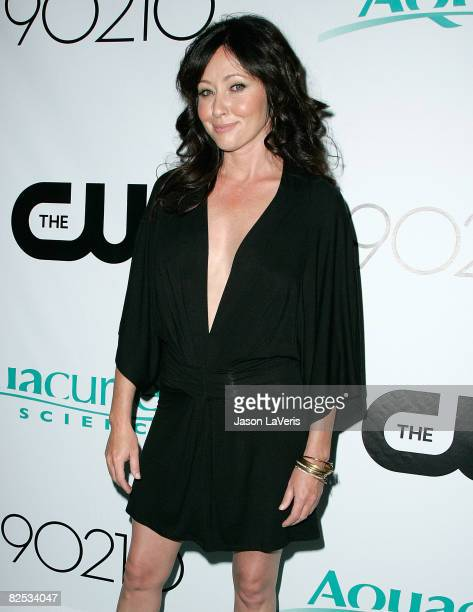 Actress Shannen Doherty arrives at the Los Angeles Premiere Party for CW Network's '90210' Television Show on August 23 2008 in Malibu California