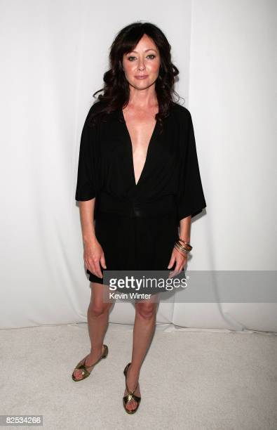Actress Shannen Doherty arrives at the premiere party for the CW Network's 90210 on August 23 2008 in Malibu California