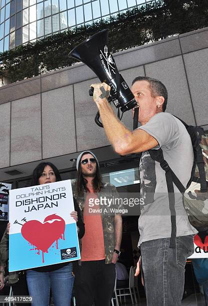 Actress Shannen Doherty Josh Cocktail with activist Tim Rusmisel participate in the Sea Shepherd's 'World Love For Dolphins Day' demonstration in...