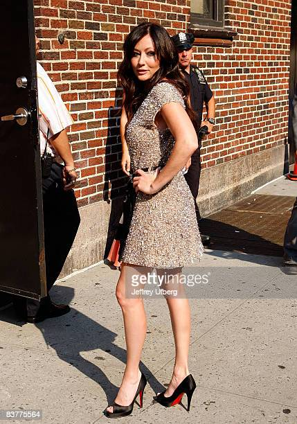 Actress Shannen Doherty visits 'Late Show with David Letterman' at Ed Sullivan Theatre on September 4 2008 in New York City