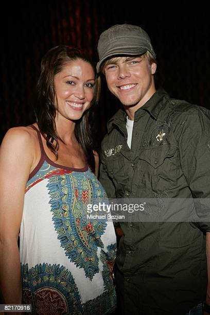 Actress Shannon Elizabeth and dancer Derek Hough attend the Summer Nights Evening Bash AllIn Poker Celebrity Tournament at Ritual on August 3 2008 in...