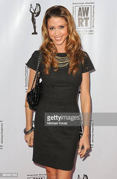 Actress Shannon Elizabeth arrives at the American Women in Radio Television Southern California 2010 Genii Awards at Skirball Cultural Center on...