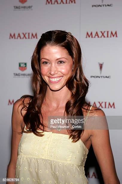 """Actress Shannon Elizabeth arrives at the celebrity party to celebrate the 2005 Maxim """"Hot 100"""" List."""