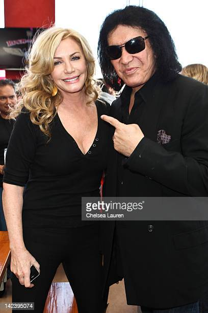 Actress Shannon Tweed and husband bassist Gene Simmons of KISS attend the Wounded Warrior private luncheon at Rock Brews on April 3 2012 in El...
