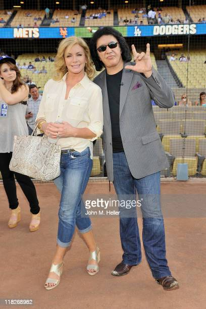 Actress Shannon Tweed and singer/actor Gene Simmons at Dodger Stadium on July 5 2011 in Los Angeles California