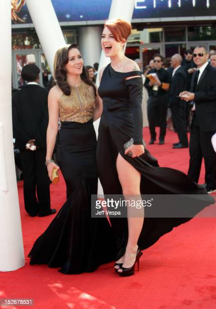 Actress Shannon Woodward and actress Alexandra Breckenridge arrive at the 64th Primetime Emmy Awards at Nokia Theatre LA Live on September 23 2012 in...