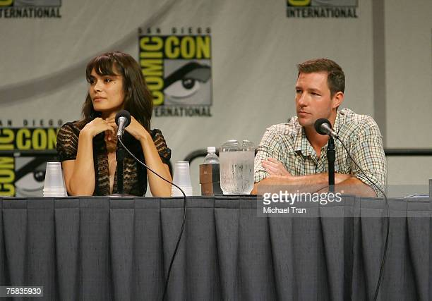 Actress Shannyn Sossamon and Actor Edward Burns speaks to audience at the Warner Bros panel at Comic Con 2007 at the San Diego Convention Center on...