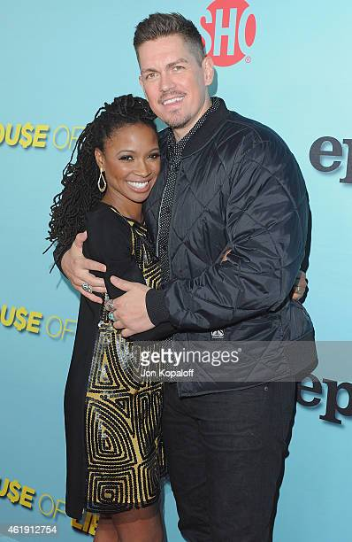 Actress Shanola Hampton and actor Steve Howey arrive at Showtime Celebrates AllNew Seasons Of 'Shameless' 'House Of Lies' And 'Episodes' at Cecconi's...