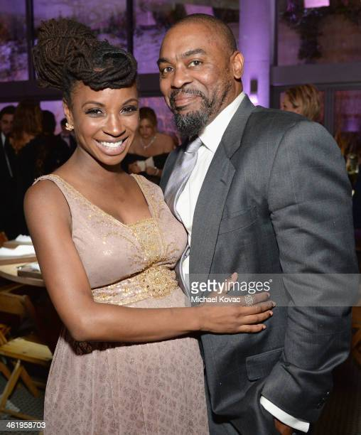 Actress Shanola Hampton and Daren Dukes attend The Art of Elysium's 7th Annual HEAVEN Gala presented by Mercedes-Benz at Skirball Cultural Center on...