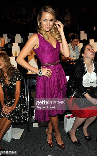 Actress Shantel VanSanten attends the Lela Rose Spring 2012 fashion show during MercedesBenz Fashion Week at The Studio at Lincoln Center on...