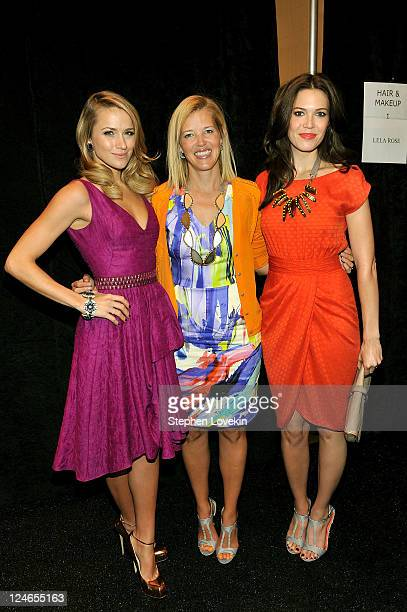 Actress Shantel VanSanten designer Lela Rose and Mandy Moore pose backstage at the Lela Rose Spring 2012 fashion show during MercedesBenz Fashion...