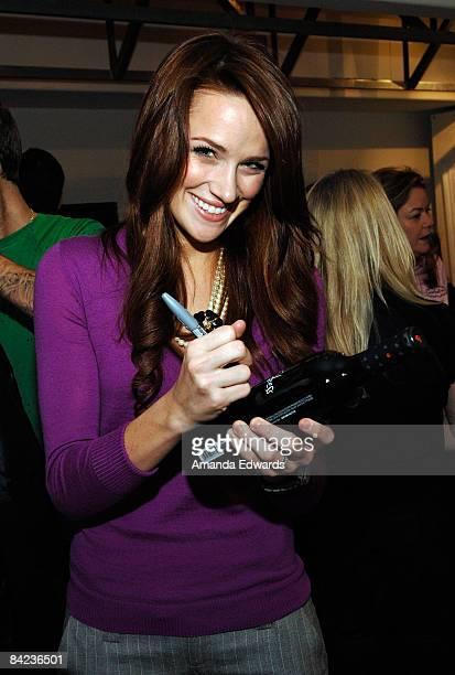 Actress Shantel VanSanten poses at Little Black Dress Wines at Kari Feinstein Golden Globes Style Lounge held at Zune LA on January 9, 2009 in Los...