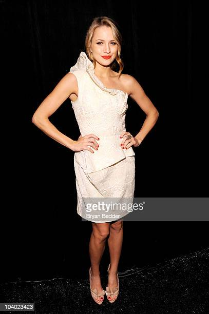 Actress Shantel VanSanten poses backstage at the Lela Rose Spring 2011 fashion show during MercedesBenz Fashion Week at The Studio at Lincoln Center...