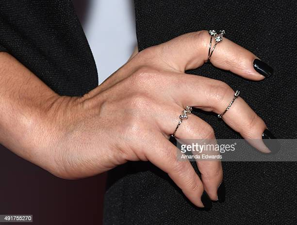 Actress Sharlene Taule ring detail arrives at the Latina 'Hot List' Party hosted by Latina Media Ventures at The London West Hollywood on October 6...