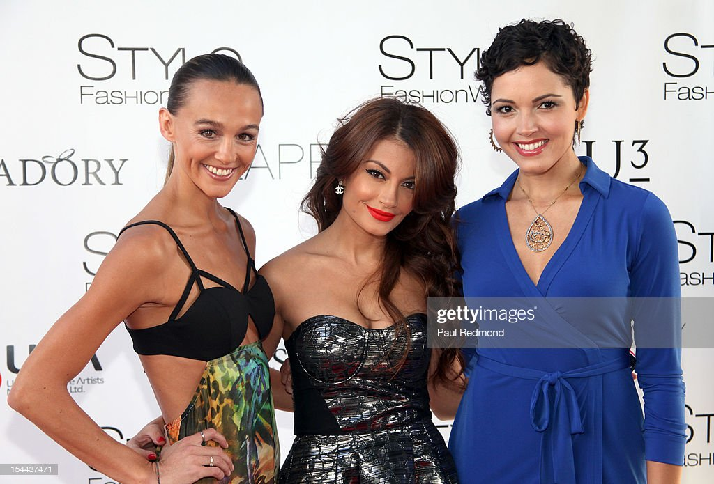 Actress Sharni Vinson, television personality Layla Kayleigh Covino and television personality Susie Castillo model for iiJin's 'California Soul' Spring/Summer 2013 Fashion Show At LA Style Fashion Week at Vibiana on October 19, 2012 in Los Angeles, California.