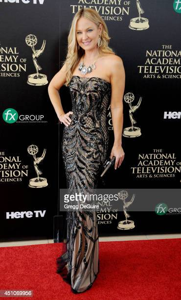 Actress Sharon Case arrives at the 41st Annual Daytime Emmy Awards at The Beverly Hilton Hotel on June 22 2014 in Beverly Hills California