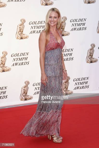 US actress Sharon Case poses on the red carpet before the closing ceremony of the 46th annual Monte Carlo Television Festival at the Forum Grimaldi...
