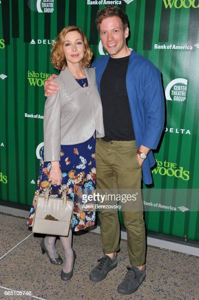 Actress Sharon Lawrence and actor Barrett Foa attend the opening night of Fiasco Theater's production of 'Into The Woods' at Ahmanson Theatre on...