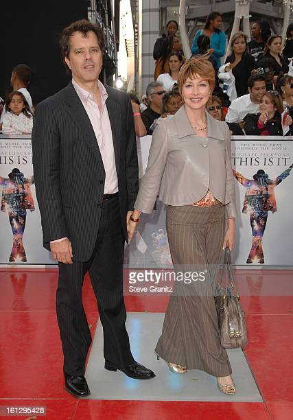 Actress Sharon Lawrence and Dr Tom Apostle arrive at the Los Angeles Premiere of This Is It held at Nokia Theatre LA Live on October 27 2009 in Los...