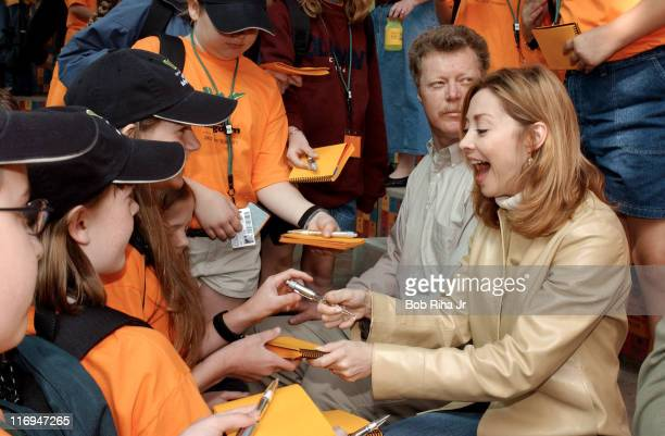 Actress Sharon Lawrence formerly of NYPD Blue signs autographs for children attending the Mutual of Omaha Wild Kingdom Kids' Summit at the Los...