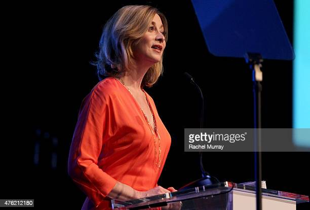 Actress Sharon Lawrence speaks onstage during the Global Green USA 19th Annual Millennium Awards on June 6 2015 in Century City California