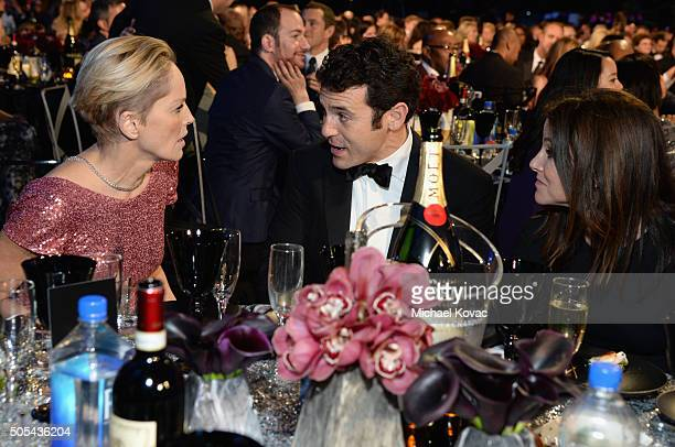 Actress Sharon Stone actor/director Fred Savage and Jennifer Lynn Stone attend the 21st Annual Critics' Choice Awards at Barker Hangar on January 17...