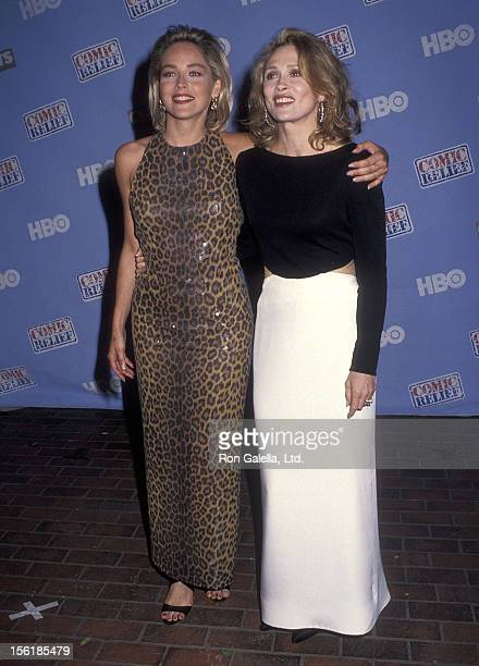 Actress Sharon Stone and actress Faye Dunaway HBO's 'Comic Relief V' to Benefit America's Homeless on May 16 1992 at Universal Amphitheatre in...