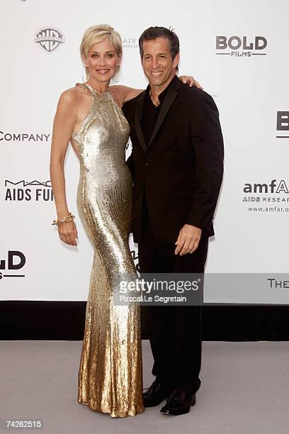 Actress Sharon Stone and amfAR Chairman of the Board Kenneth Cole arrive at the Cinema Against Aids 2007 in aid of amfAR at Le Moulin de Mougins in...