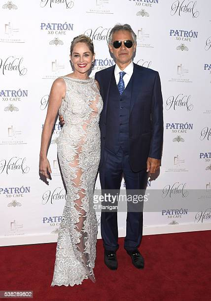 Actress Sharon Stone and Andrea Bocelli arrive to the 5th Annual Hotbed Gala Presented By The Drever Family Foundation at the Drever Family Estate on...