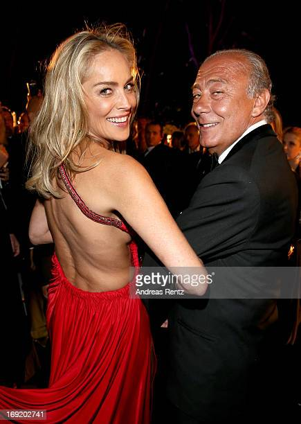 Actress Sharon Stone and De Grisogono Founder and President Fawaz Gruosi attend the 'De Grisogono' Party during The 66th Annual Cannes Film Festival...