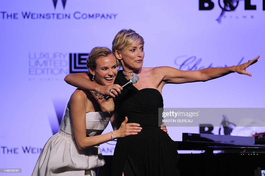US actress Sharon Stone (R) and German actress Diane Kruger attend the Amfar auction on May 21, 2009 in Antibes, southern France.