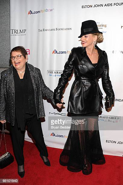 Actress Sharon Stone and grandmother/President of CPFA Eileen Mitzman attend the 8th Annual Elton John AIDS Foundation�s An Enduring Vision benefit...