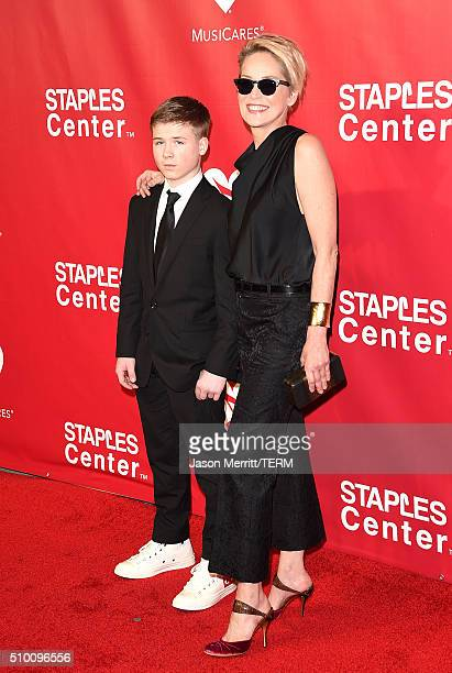 Actress Sharon Stone and Roan Bronstein attend the 2016 MusiCares Person of the Year honoring Lionel Richie at the Los Angeles Convention Center on...