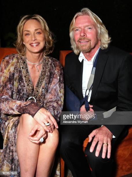 Actress Sharon Stone and Sir Richard Branson attend 'Rock The Kasbah' hosted by Sir Richard Branson and Eve Branson held at Vibiana on October 26...