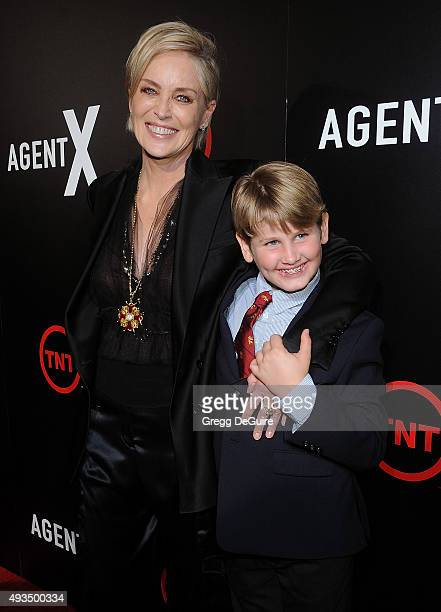 Actress Sharon Stone and son Laird Vonne Stone arrive at the premiere of TNT's Agent X at The London West Hollywood on October 20 2015 in West...